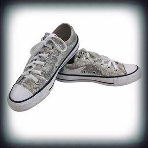 Converse All Star Silver Glitter Sneakers Sz 6